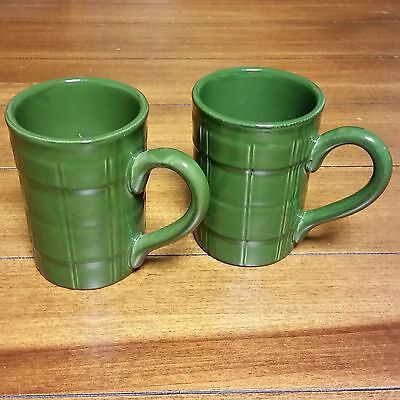 Set of 2 American Atelier at Home Seville Mugs Ironstone 5243 Green