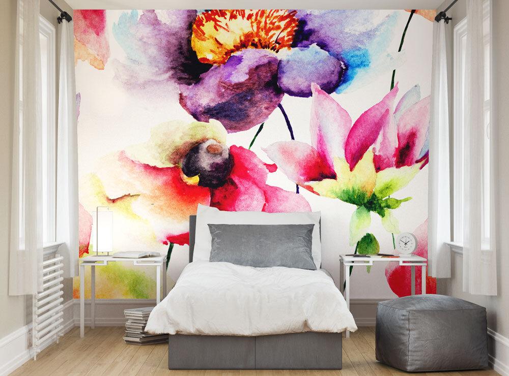 Ohpopsi Verano Flores Acuarela Mural De Pa Pa Pa rojo  4d6f4c