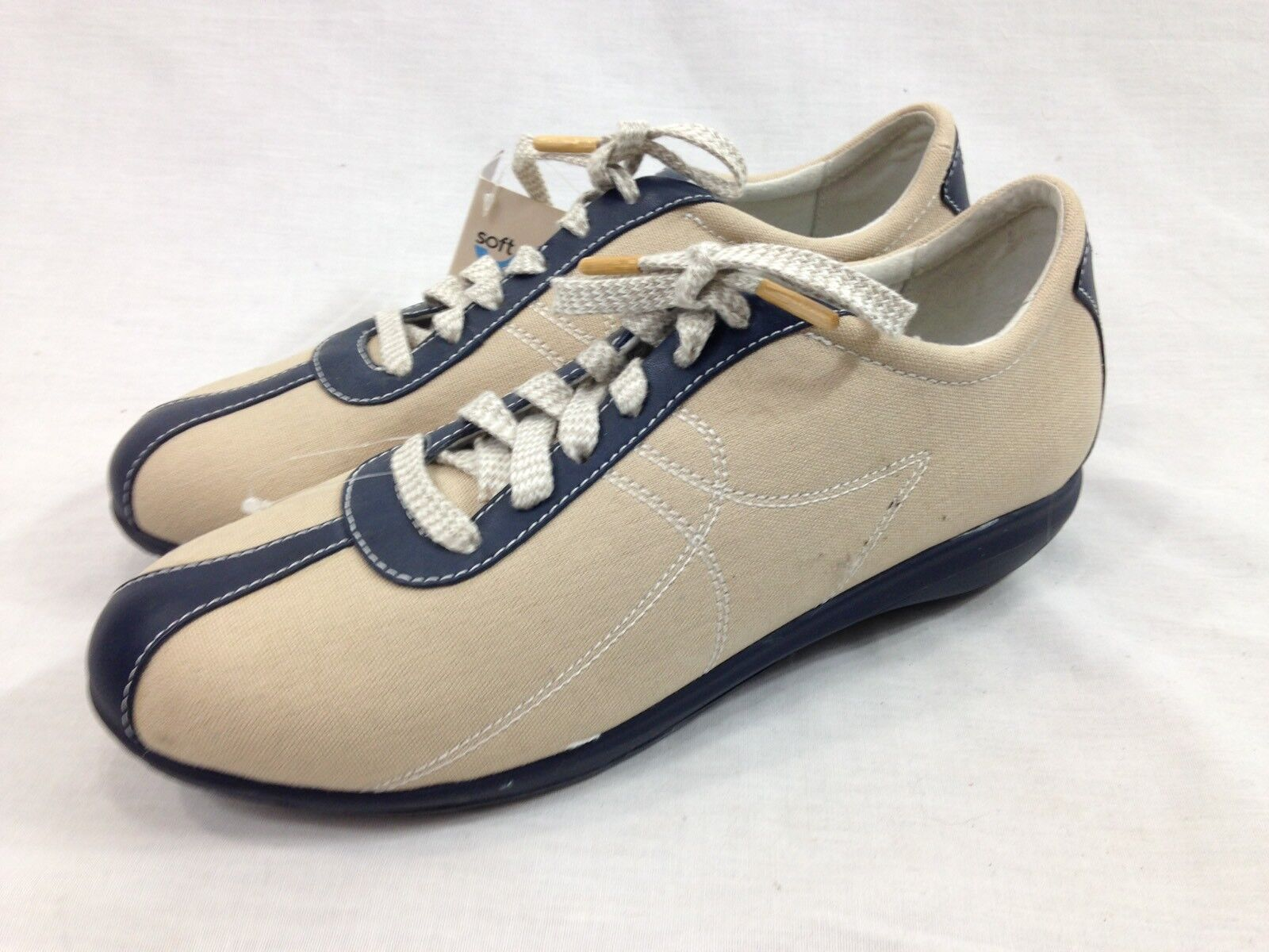 NEW Softwalk Health Glide Fitness Schuhes Sneakers Damens 11N Beige Tan Navy Lace
