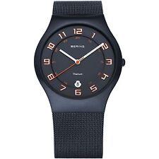 Bering Time -Titanium Case - Men's Navy Blue Milanese Mesh Strap Watch 11937-393