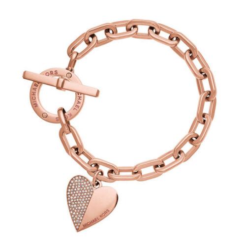 Exquis Lien Chaîne Cristal Or Ruban Rose Poignet Bracelet Coeur Métal Manchette