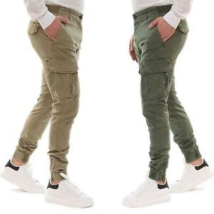 Pantalone-Uomo-Cargo-Primaverile-Con-Tasconi-Verde-Blu-Beige-SlimFit-Pantaloni