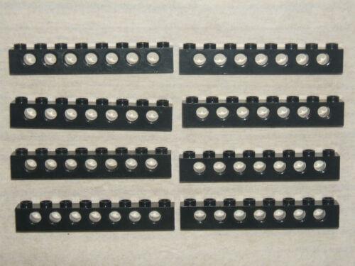 Lego Technic 8 x BLACK Beams 8 pin 7 Hole Brick