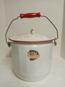 Vintage Enamel Porcelain Chamber Pot with Lid and Handle Red Trim