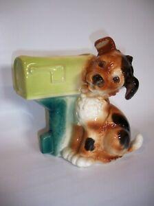 "Vintage 1950's Royal Copley Ceramic Puppy Dog & US Mail Mailbox Planter 8"" Tall"