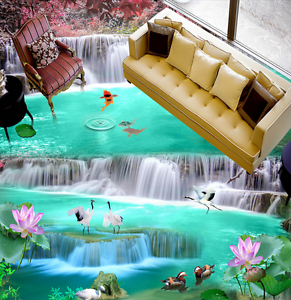 3D Waterfall Crane River 75 Floor WallPaper Murals Wall Print Decal 5D AU Lemon