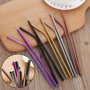 New-Stainless-Steel-Metal-Drinking-Straws-Bent-Straight-Reusable-Washable-Brush