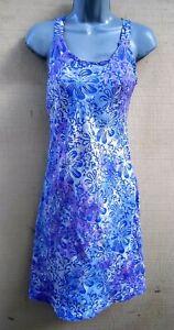 Batik-Bali-Tank-Top-Sun-Dress-Indigo-Purple-Floral-Hippie-Slip-On-Flare-Skirt-M