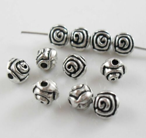 40//120pcs Tibetan Silver Round Rose Flower Charms Loose Spacer Beads 5mm