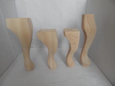 4x Wooden Furniture Legs Feet Replacement Queen Anne