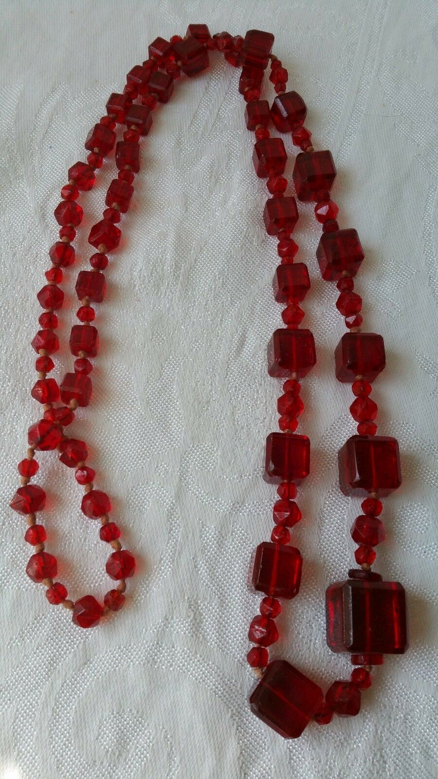 Vintage praying beads necklace with tassel red beads 116