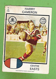1975 EASTERN SUBURBS ROOSTERS SCANLENS RUGBY LEAGUE CARD #9 HARRY ...