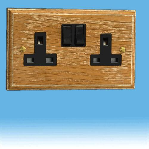 Varilight 2-Gang 13 A Double Pôle commuté Plug Socket Limed Chêne XK5LOB