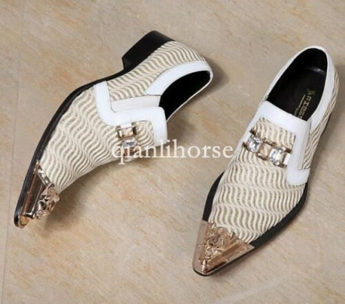 White men/'s pointy toes slip  on dress formal party wedding groom shoes diamond