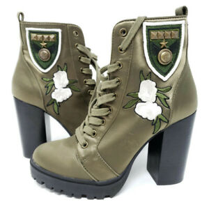 Floral Combat Boots Army Green