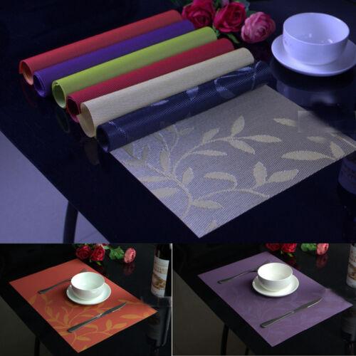 4 x Blätter Tischsets Streifen PVC Platzdeckchen Platzset abwaschbar Kunststoff