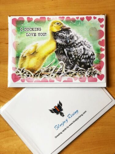 """Duck and Owl /""""I Ducking love you!/"""" Father/'s Day//Anniversary//Any Greetings Card"""