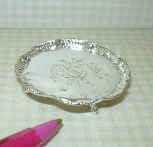 : DOLLHOUSE Miniatures 1:12 Miniature Gorgeous Round #8 Footed Silver Tray