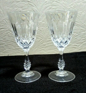 2 x Faceted Knop Stem Clear Crystal