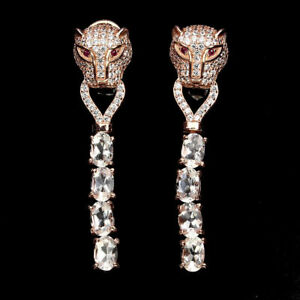 GORGEOUS-VINTAGE-TIGER-RUBY-CZ-KUNZITE-TIGER-PIERCED-EARRINGS-ROSE-GOLD