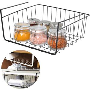 Sturdy Metal Under Shelf Basket Cabinet Pantry Storage Organizer Slide Wire Rack