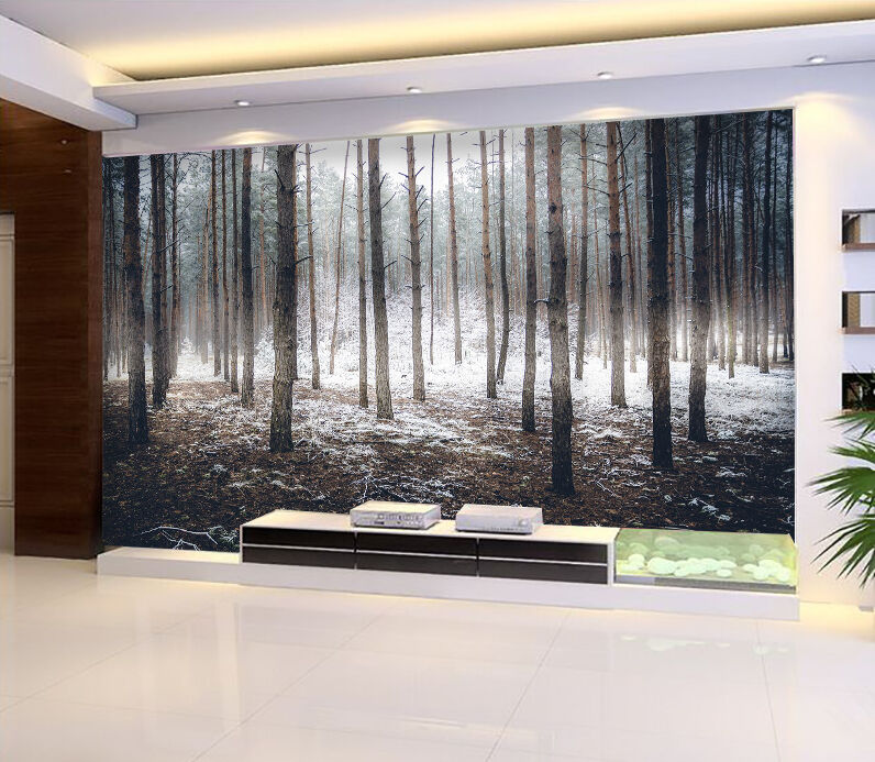 3D Forest snow trunk wall Paper Print Decal Wall Deco Indoor wall Mural