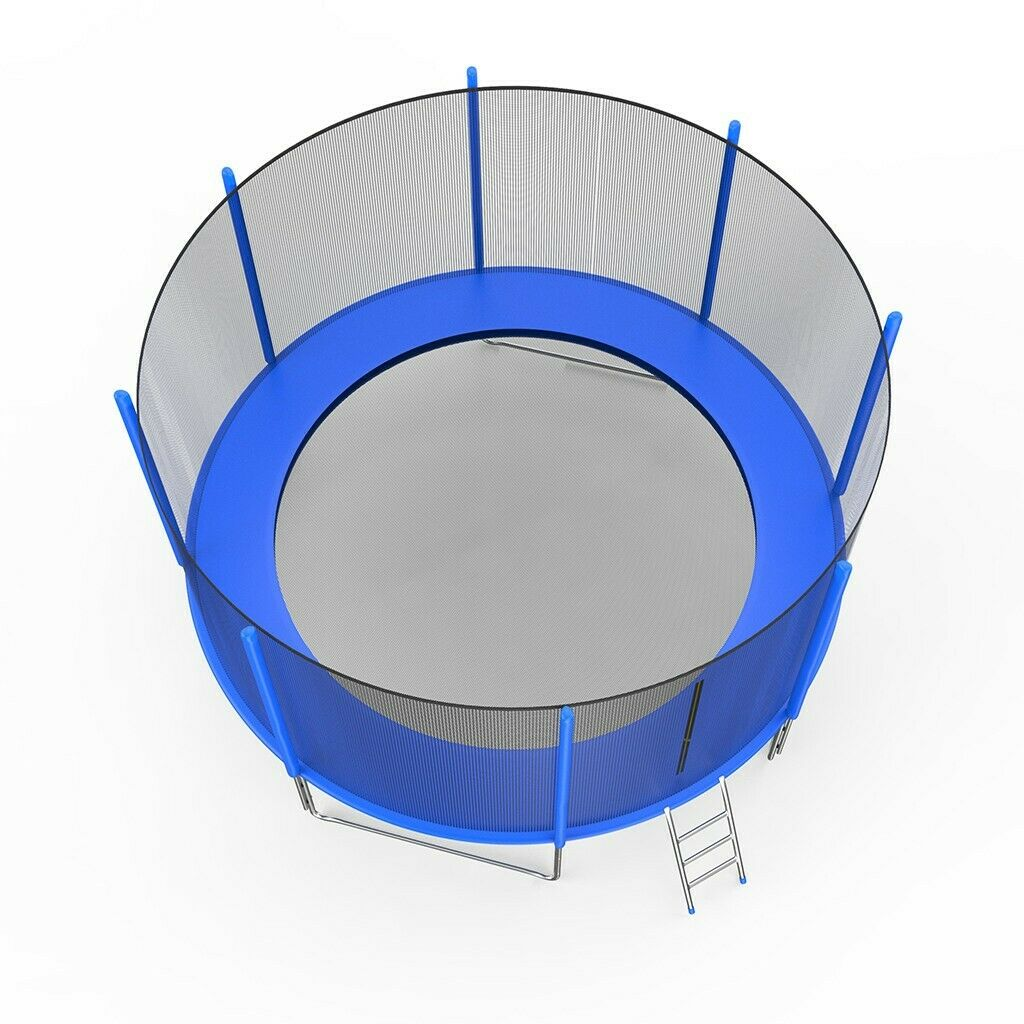 14FT Trampoline with Safety Enclosure Net,Ladder Trampoline for Kids Jumping Mat and Spring Cover Padding Outdoor Trampoline Fitness for Children and Adults A002