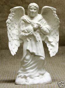 Ceramic-Bisque-Angel-Man-with-Lamb-Provincial-Mold-1061-U-Paint-Ready-To-Paint