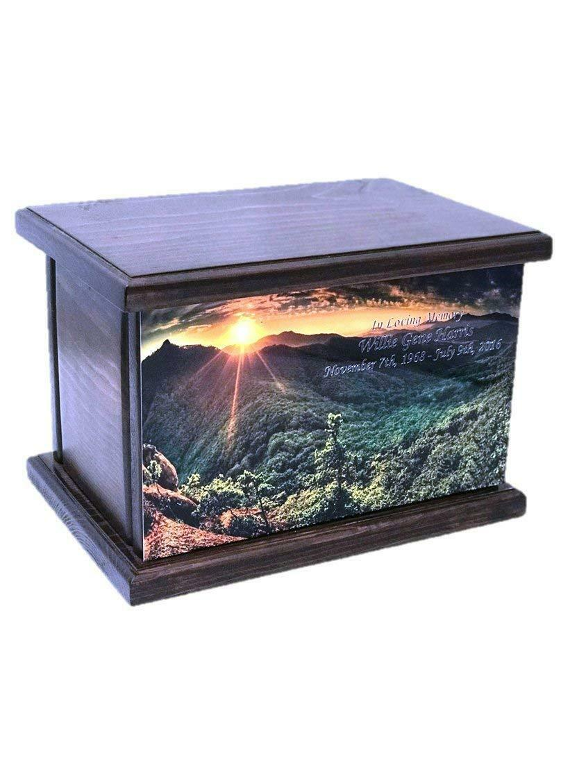 Cremation Urn, Wood funeral Urn, Sunset and Valley Wooden Urn with engraving