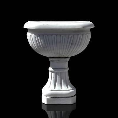 Vaso Fontana Con Piede Marmo Carrara Italian White Marble Classic Vase H.70cm Chills And Pains