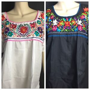 656cf5c785ed31 Image is loading WOMENS-PEASANT-EMBROIDERED-MEXICAN-HANDMADE-BLOUSE -WHITE-OR-