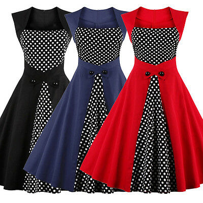 Women's Sleeveless Polka Dot Vintage 1950s Rockabilly Ladies Evening Party Dress