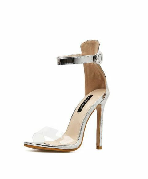 Sandali stiletto eleganti sabot 11 cm silver argento simil pelle eleganti CW890