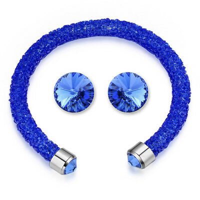 Clever Blue Elemental Bangle And Earrings Set Ft Crystals From Swarovski Kcts548wbl Good Reputation Over The World Fashion Jewelry