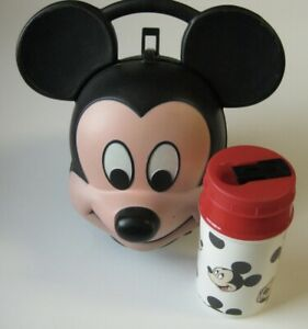MICKEY MOUSE Head Lunch Kit Box Aladdin w/ Drink Thermos VINTAGE Walt Disney