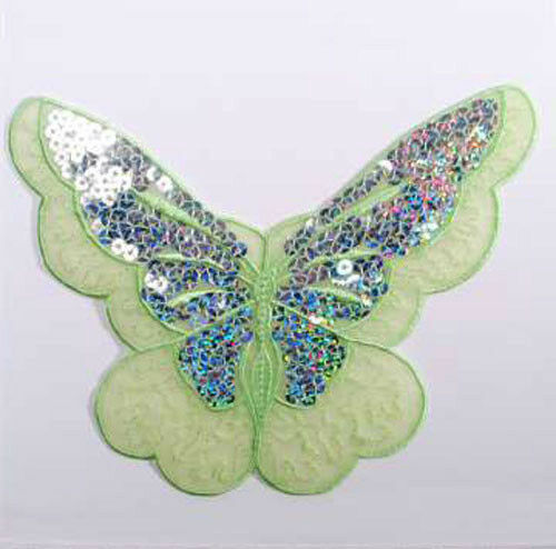 EMBROIDERED IRON ON SEQUIN BUTTERFLY APPLIQUE 2124-F