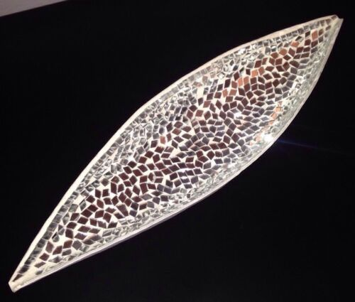 Beautiful 37cm Mirrored Mosaic Boat Dish Gift Home Decor Accessories Vase Pretty