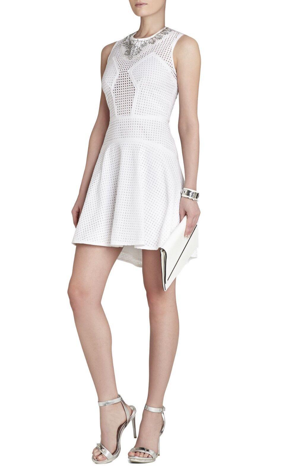 da2aa2fb0e NEW BCBGMAXAZRIA WHITE SLEEVELESS DRESS XLB67A18 M956 SZ 4 SERINA EYELET  nhxlnp21025-Dresses