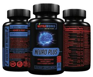 NEURO-PLUS-1-NOOTROPIC-Brain-Booster-Focus-Memory-Supplement-60-VEGGIE-CAPS