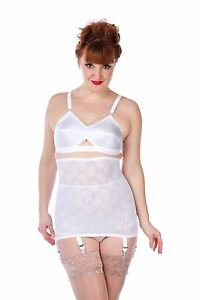 S-5XL 007 High waist pull-on girdle white with black stitching