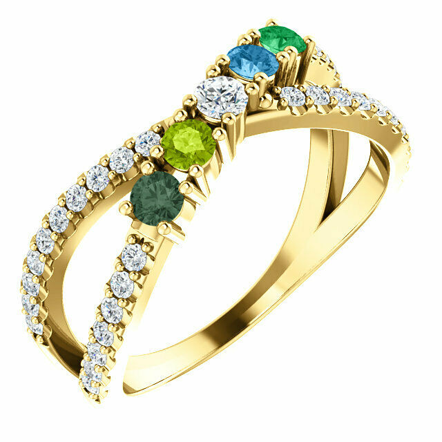 Family Ring 10K or 14K Solid gold 1 to 5 Birthstones, Mother's Jewelry