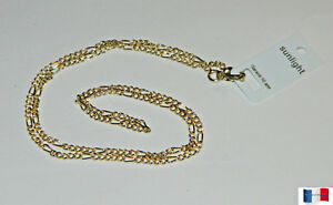 COLLIER-CHAINE-MAILLE-FIGARO-45CM-PLAQUE-OR-NEUF