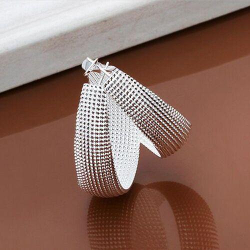 "Unique /& Elegant Pure 925 Sterling Silver Big Hoop 1.5/"" Fashion Earrings"