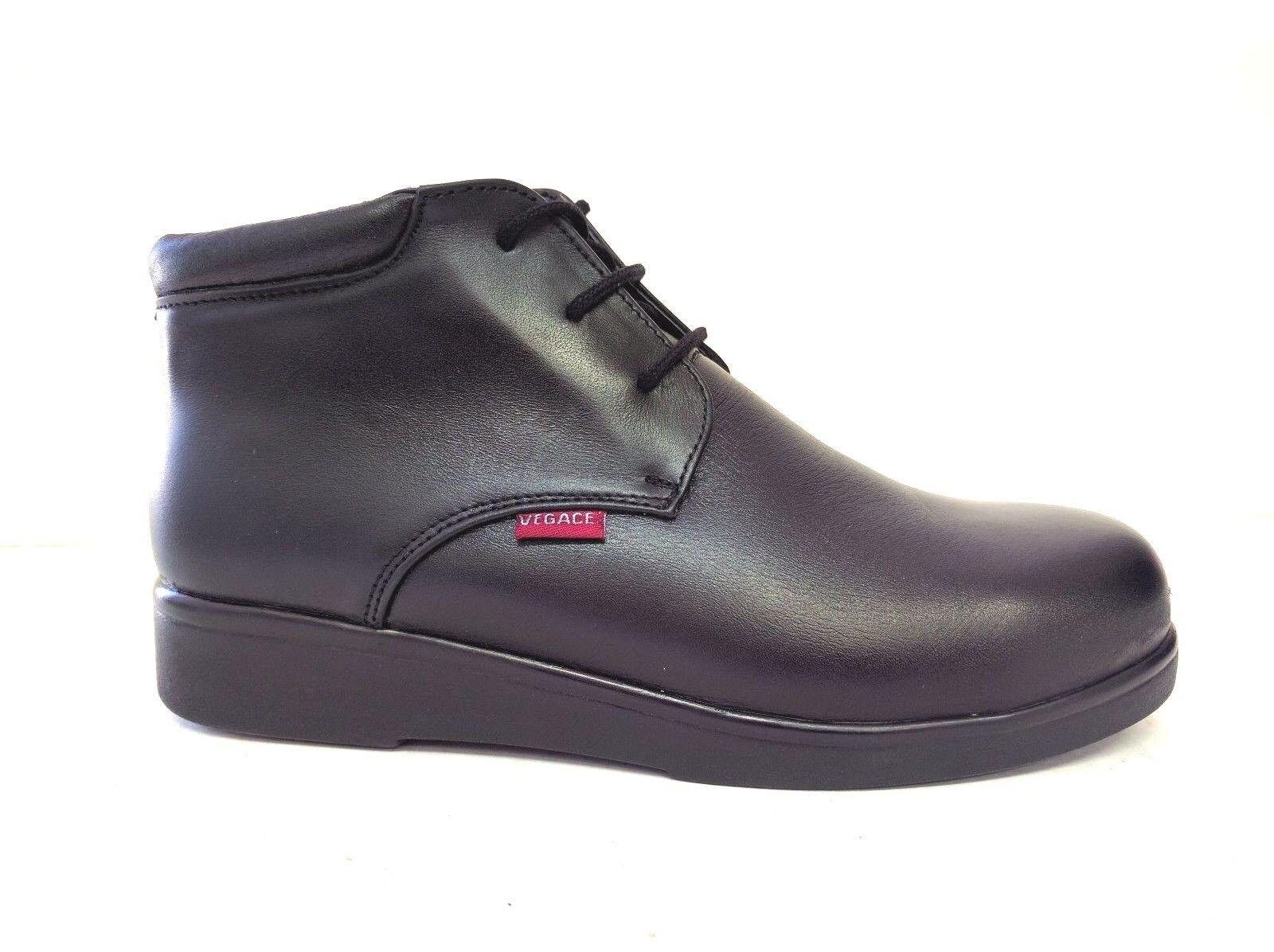 Vegace Women Black Black Black Leather Safety STEEL TOE Work Boot Oil Slip Resistant 9625 81995d