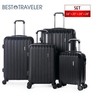 196567ebb6aa Details about 4 Piece ABS Luggage Set Light Travel Case Hardshell Suitcase  16