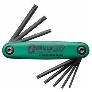 Bondhus-Gorilla-Grip-8-Pieza-plegar-Conjunto-Torx-T6-T7-T8-T9-T10-T15-T20-T25-TF8S