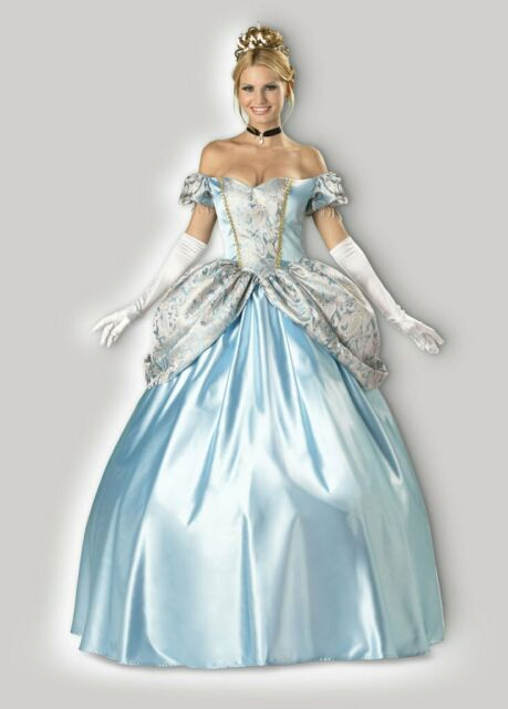 Cinderella Costume Adult Masquerade Ball Gown Halloween Fancy Dress W Extra Wig For Sale Online