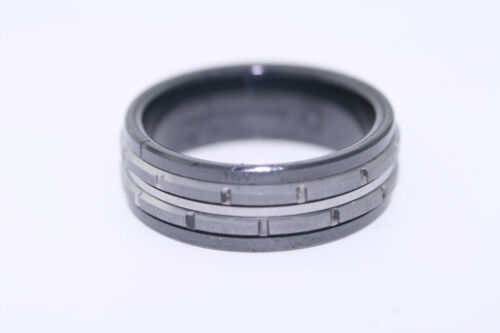 7.5mm Black Ceramic Band Ring with Tungsten Carbide Brick Style Inlay