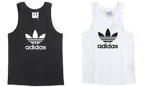 Adidas Men Originals Trefoil Shirts Jersey White Running Tank Top ...