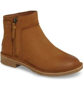 Women-Ugg-Australia-Boots-Rea-Nubuck-Leather-Shearling-Chestnut-Ankle-Booties-10